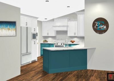 Renderings Teal Kitchen Cabinets 1