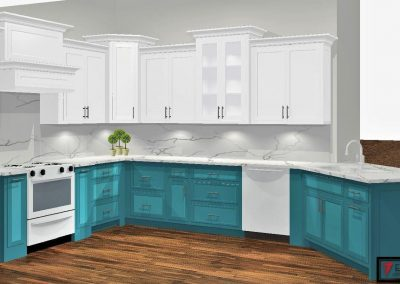 Renderings Teal Kitchen Cabinets 2