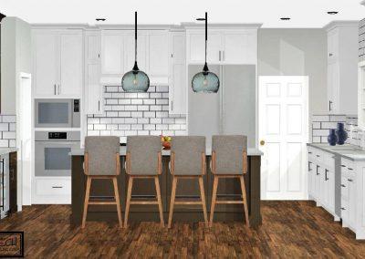 Renderings White Kitchen Cabinets Dark Floors 1